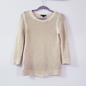Ann Taylor Open Knit Cream Pullover Sweater M